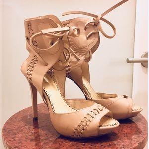 Bebe Gladiator Nude Platform Heels Sandals NEW sz7